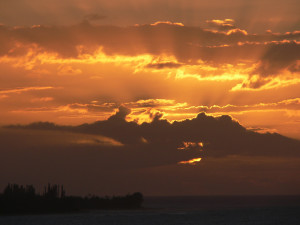 Hanalei Bay, Kauai, Hawaii, Sunset March 2008